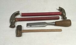 Ca. 1920's 4 Antique Iron Toy Tools 2 Claw Hammers, Sledge Hammer, Chisel