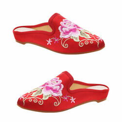 1 Pair Home Women Embroidery Slippers Winter Non-slip Slippers Size 38