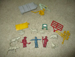 Marx 1950s Modern Farm 60mm Vinyl/rubber Farmers Animals Tractor Implements