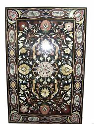 5and039x2.5and039 Black Marble Dining Coffee Table Top Pietra Dura Inlay Home Decor Rt