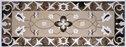 52and039and039x28and039and039 Antique Marble Coffee Table Top Multi Mosaic Stone Inlay Kitchen Jd