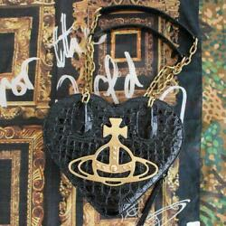 Vivienne Westwood Big Orb Heart Chain Hand Bag Leather 21ss Women's From Japan