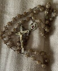 Antique Glass Bead Clear Crystal Gold Rosary Sacred Heart Italy 23