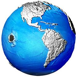 Barbados 2022 - Blue Marble Endangered - Meteorite From Space - Silver Coin 3 Oz