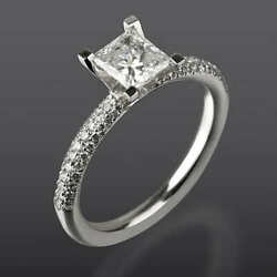 1.55 Carat Vs Real Diamond Engagement Ring W Accents Size 5.5 6 6.25 6.5