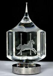 Steuben Glass Revolving Carousel Merry Go Round Etched Horses - Signed - Nice