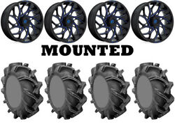 Kit 4 High Lifter Outlaw 3 Tires 44x9.5-24 On Fuel Runner Blue D778 Wheels Can