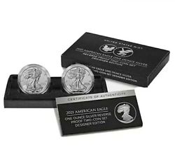 5 X American Eagle 2021 One Ounce Silver Reverse Proof Two-coin Set Designer Ed