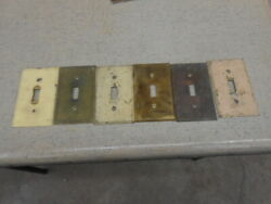 Antique Lot Of 6 Brass Light Switch Covers