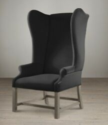 Restoration Hardware French Wingback Chair Black Cotton Duck Preowned