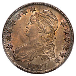 1827 50c Square Base 2 O-134 Capped Bust Half Dollar Pcgs Ms63 Cac