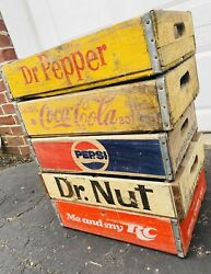 5 Vintage Mixed Variety Pepsi Coke Dr Nut Dr Pepper Rc Wood Soda Crates Lot
