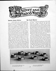 Antique Old Print Queen Anne Silver Circular Oval Trencher Saltspages 1919