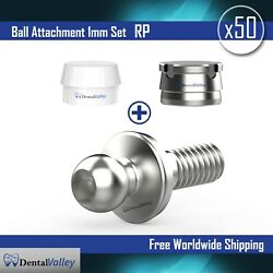 50x Ball Attachment 1mm And Silicon Cap And Metal Housing Rp For Dental Implant Lab
