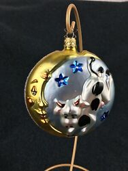 Hey Diddle Diddle, Cow Jumps Over The Moon - Glass Ornament - Nursery Rhyme