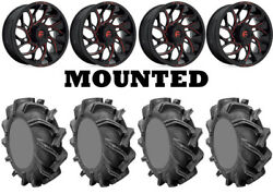 Kit 4 High Lifter Outlaw 3 Tires 38x9-22 On Fuel Runner Red D779 Wheels Hp1k