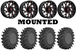 Kit 4 Sti Outback Max Tires 35x9-20 On Fuel Runner Red D779 Wheels Hp1k