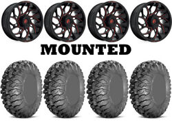 Kit 4 Efx Motoclaw Tires 35x10-20 On Fuel Runner Red D779 Wheels 550