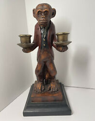 Large Vintage Bombay Company Monkey Butler Candlestick Holder 12 Plus In Tall