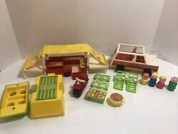 Vintage Fisher Price Little People Family Car And Pop-up Camperset 992 1979