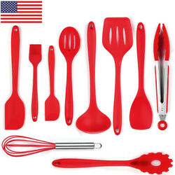 10pcs Kitchen Cooking Utensil Non-stick Silicone Tongs Spatula Wooden Handle Set