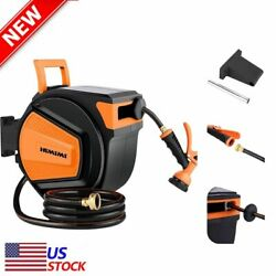 Wall Mounted Hose Automatic Retractable Garden Hose Reel With Swive Orange Black