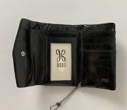 NWT HOBO International Lacy Leather Wallet Black RP $68 Small Compact Roomy $42.95