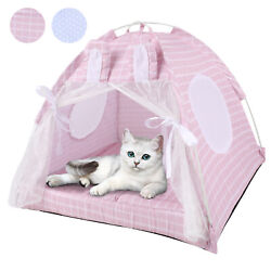 Dog Cat Nest Bed Tent Crate House Puppy Cushion Fluffy Portable Canvas Pet Tent