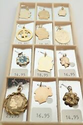 Lot Of 12 Vintage Nos Sterling Vermeil Gold Filled Silhouette Enamel Beau Charms