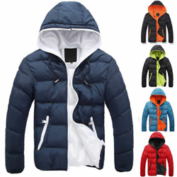 Menand039s Down Jacket Winter Hooded Thickened Coats Zipper Slim-fit Warm Jacket Chic