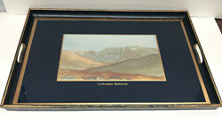 Rare Tray With Charles Water Color Base Gifted W/signed Note To A Staff