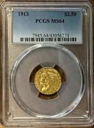 1913 2.50 Indian Gold Quarter Eagle Pcgs Ms64 A 2nd Piece Spot Free Free Ship
