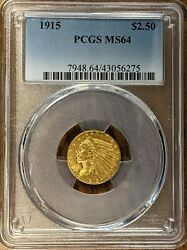 1915 2.50 Indian Gold Quarter Eagle Pcgs Ms64 Spot Free  Free Shipping