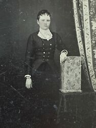 Antique Well Dressed Young Maine Women Tin Type Ferrotype Old Photo Tinted