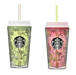 New Starbucks 25th Anniversary In Japan Tumbler Cold Cup Plastic 473ml Set Of 2
