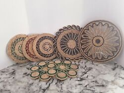 Lot Of 7 Vintage Wicker Trivets Straw Rattan Woven Braided Hot Pads Multicolor