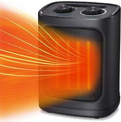 Portable Electric Space Heater, Ceramic, Thermostat, Tip-over And Overheat,1500w