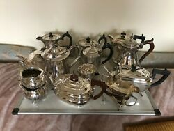 Large Lot Of Silver Plated Tea And Coffee Pots Single And Sets