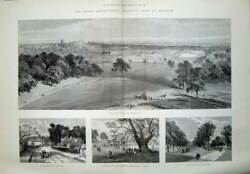 Old Antique Print 1889 Royal Agricultural Show Windsor Queen Anne Gate 19th