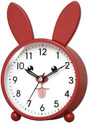 Analog Alarm Clock for Kids Easy Set and Lighted on Demand Beep Sounds Red