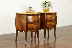 Pair Of Antique Bombe Marquetry Chests, Nightstands, Marble Tops 34198