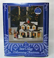 Dept.56 Snow Village Welcoming Christmas Lighted House Holiday Gift Set Nib W944