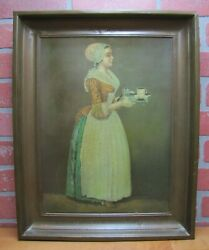 La Belle Chocolatiere Walter Baker And Co Antique Tin Advertising Sign Chocolate