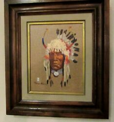 Ace Powell Original Framed Oil Painting Native American Indian Chief Portrait