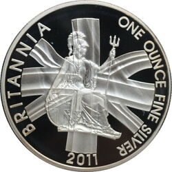 Great Britain 2 Pounds 2011 Proof Seated Britannia With Royal Shield And Flag