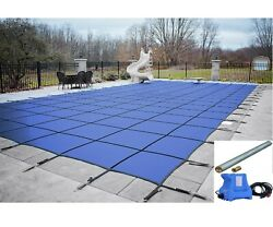 Gli Valuex Blue Solid Swimming Pool Winter Safety Cover W/ Pump And Paving Tubes