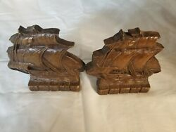 Ornawood Nautical Sailboat Wood Bookends 1950s Office Study