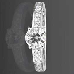 Diamond Ring Solitaire Accented Women 18k White Gold 1.04 Ct Ornamented Vvs D