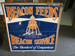 Rare Orig Lighthouse Beacon Milling Feeds Usa Art Advertising Metal Sign Graphic