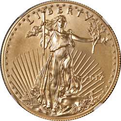 2017 Gold American Eagle 50 Ngc Ms70 First Day Issue - Elizabeth Jones Signed